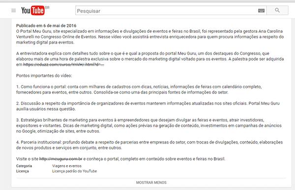 Exemplo de como otimizar vídeo no Youtube: descrição de qualidade