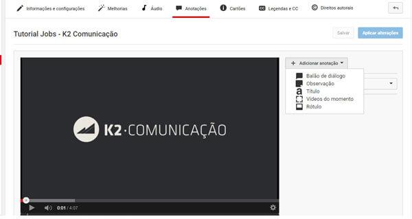 Exemplo de edição no Youtube