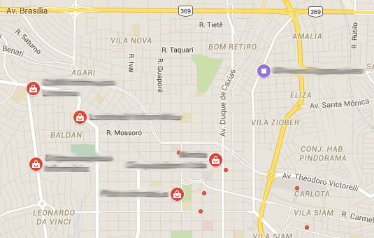 Mapa de anúncios no Google Maps