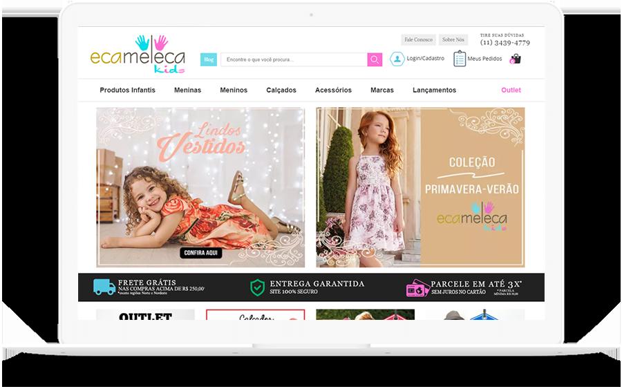 Ecameleca loja virtual de roupas infantis - Case SEO K2 Estratégia Digital
