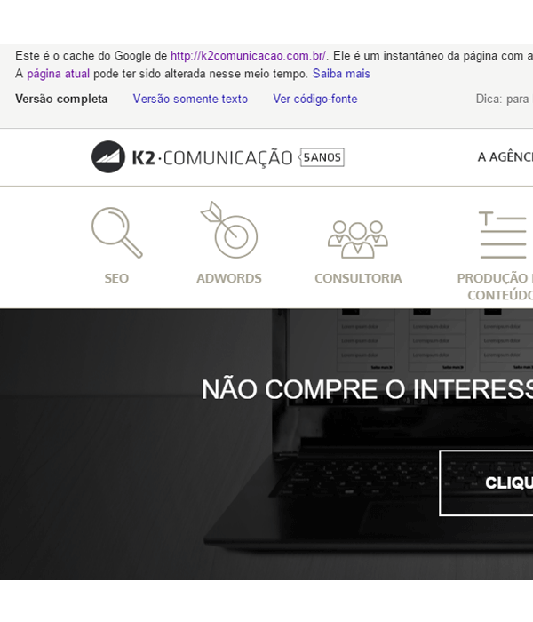 Exemplo indexação do site K2 Estratégia Digital