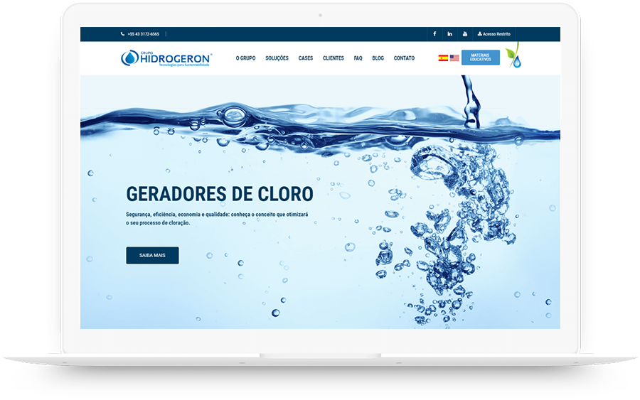 Site da empresa de gerador de cloro Hidrogeron - case de Inbound Marketing